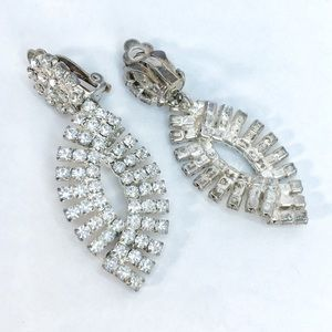Prom Pageant Bridal Jewelry - CLIPS Vintage Rhinestone Clip Occasion Earrings